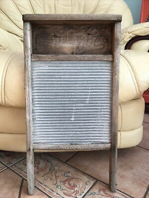 £24 • Buy Vintage  The Globe   Wooden Washboard Galvanised Metal - Antique Clothes Washer