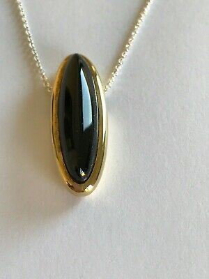£38 • Buy Sterling Silver/18ct Hard Gold Plated Whitby Jet Pendant