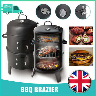 £38.59 • Buy 3 In 1 Charcoal Barbecue Smoker Outdoor Garden BBQ Grill With Temperature Gauge