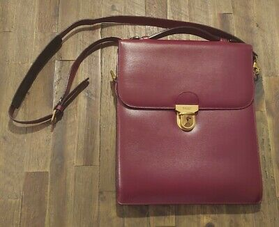 $99 • Buy Bally Leather Document Bag With Shoulder Strap - Burgundy: 10.5  × 12