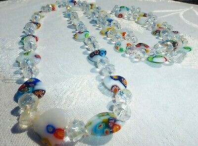 $5.50 • Buy BEAUTIFUL Vintage CRYSTAL MILLEFIORI Beaded NECKLACE Strand ITALY 48  INCHES