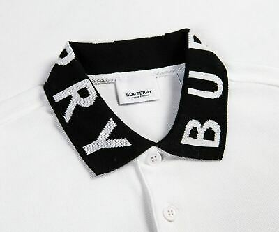 $92 • Buy Burberry Ryland Logo Collar Polo Size Large - White