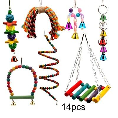£5.29 • Buy 14Pack Parrot Set Toys Metal Rope Small Ladder Stand Budgie Cockatiel Cage Bird