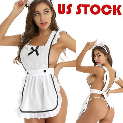 $9.99 • Buy US Womens Sexy Lingerie Set Maid Ruffle Apron Fancy Dress Cosplay Costume Outfit