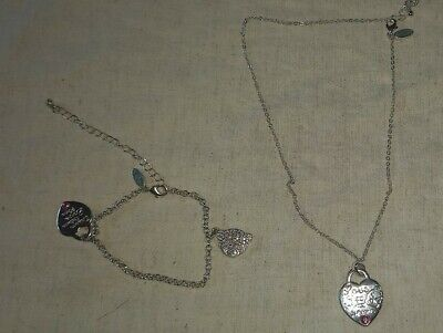 £3 • Buy Me To You....Matching Necklace & Bracelet - Silver Tone..Pre-owned