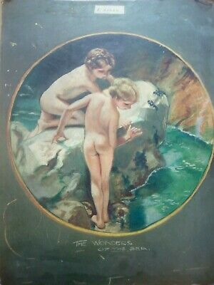 £31 • Buy The Wonders Of The Sea, Expert Help Required, ANTIQUE OIL PAINTING.