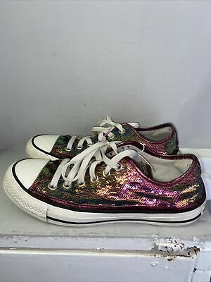 £15 • Buy Multicoloured Sequin Embellished Converse Size 5