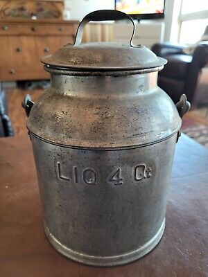 $40 • Buy Antique Steel 4 Qt. Milk Can With Handle And Lid