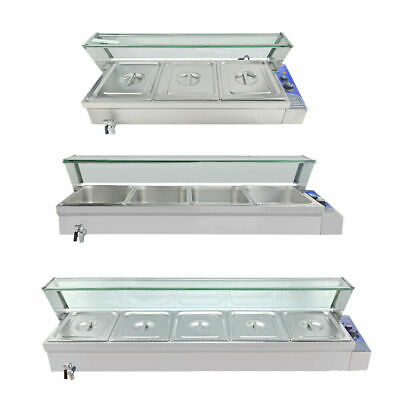 £189 • Buy Electric Bain Marie 3/4/5 GN Pans Buffet Stainless Heat Food Warmer Glass Top