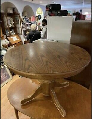 £42 • Buy Round Wooden Antique Large Strong Centre Table With Tree Trunk Stand