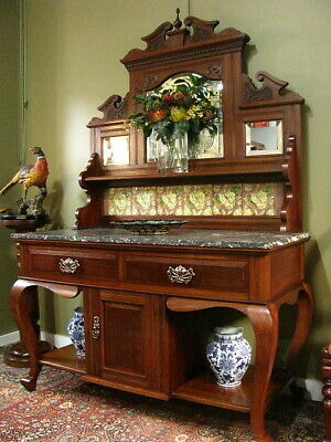 AU1200 • Buy ANTIQUE QUEENSLAND MAPLE MIRRORED WASHSTAND DISPLAY SIDEBOARD CABINET  C1910s