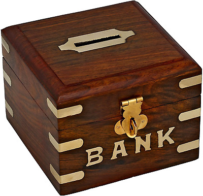 £12.02 • Buy Ajuny Wooden Collectibles Small Square Piggy Bank Gift For Boys And Girls Size