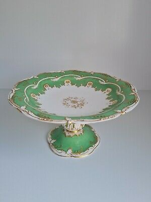 £29.99 • Buy Antique Coalport? Porcelain Tazza Footed Cake Stand Green And Gold Pirced Foot