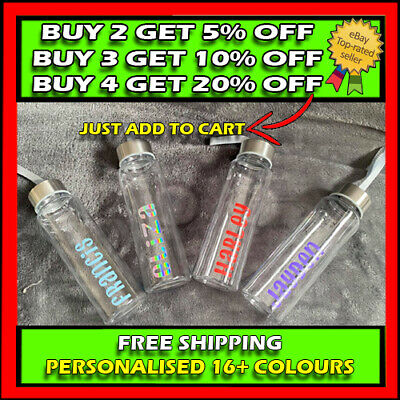 £6.99 • Buy Personalised 500ml Recycled Glass Water Bottle / Adults / Kids / Gift / Friend