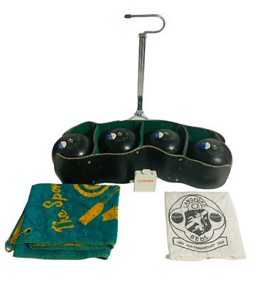 £55.30 • Buy Henselite Lawn Bowls Size 4 Heavy Classic Deluxe Black Bowl Jack Lifter Set Of 4