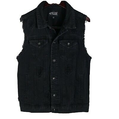 $25 • Buy Hot Topic Rude Black Distressed  Ripped Denim Vest Size S/M