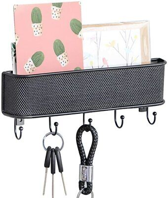 $7 • Buy Wall Mounted Mail Holder Metal Mail Sorter Organizer With 5 Key Hooks Black