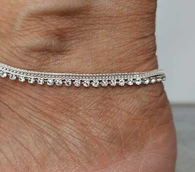 £4.99 • Buy Stunning Diamante Anklet Ankle Chain Payal Bridal Foot Jewellery  Bollywood Gift