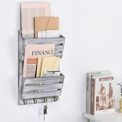 $23.99 • Buy Rustic Wood Mail Holder Entryway Wall Letter Magazines Organizer With 4 Hooks