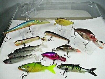$6 • Buy Lot Of 12 Pre-fished Storm Thin Fin Wiggle Wart Chug Magnum Fishing Lures