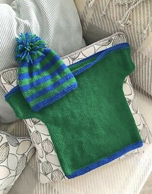 £8 • Buy Hand Knitted Baby Slash Neck Top & Hat