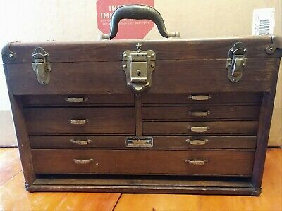 $185 • Buy Vintage ~ OAK ~ UNION CHEST ~ MACHINIST 7 DRAWER WOODEN TOOL BOX ~