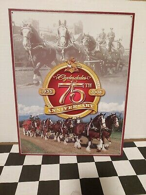 $ CDN31.33 • Buy Budweiser Beer Clydesdale Team 75th Anniversary Metal Tin Sign 12 1/2 X 16