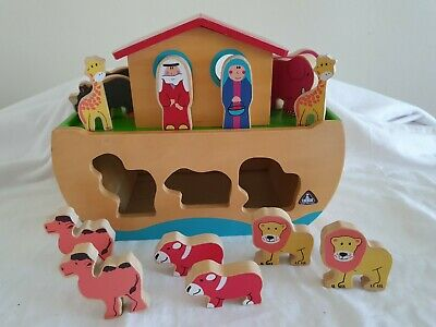 £7.99 • Buy ELC Wooden Noah's Ark Toy With Animals Shape Sorter Early Learning Centre