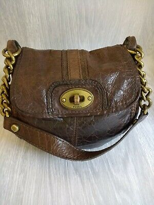£15 • Buy Fossil Leather Bag.dark Tan.16in Full Length With Strap.bag 7in-8in.well Loved