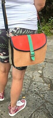 £4.50 • Buy GRINGO Colour Block Leather Satchel Messenger Bag Red Tan Navy And Green