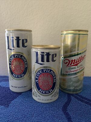 $10.95 • Buy Beer Cans Pull Tab Miller High Life & Lite Old Skoll 16oz And 12 Oz Lot Of 3
