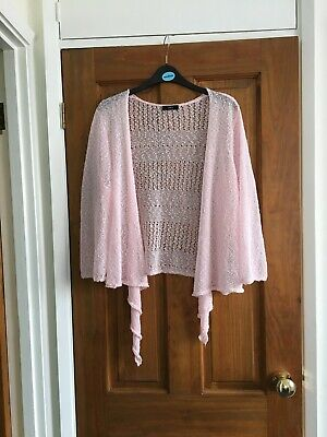 £3.50 • Buy M&Co Ladies Fine Knit Waterfall Cardigan/Shrug - Size 20 - Pale Pink