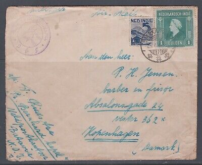 $14.99 • Buy Netherlands-India 1947. Military Air Mail Cover To Denmark. Look Sender.