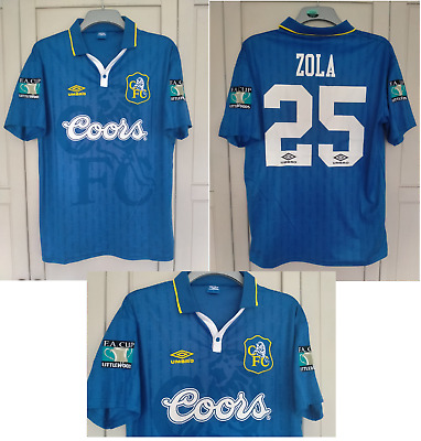 £28 • Buy Chelsea Shirt 1995 1996 1997 FA CUP FINAL 97 Shirt ZOLA  COORS ITALY SIZE XL