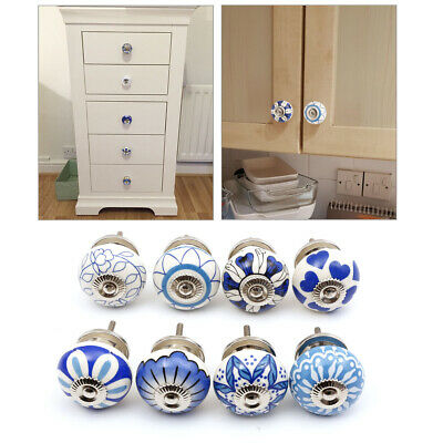£12.99 • Buy 8pcs Ceramic Door Knobs White Blue Floral Hand Painted Ceramic Different Pattern