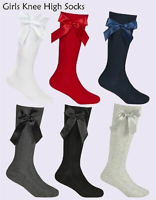 £3.99 • Buy Girls Knee High Socks Cable Knit Cotton Rich Bow School Sock 2 Pairs