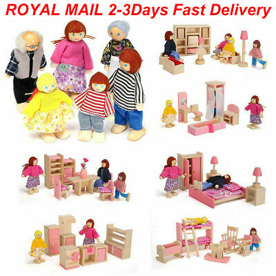 £7.89 • Buy Kids Toys House Miniature Dolls 7 People Family Furniture Wooden Room Playset