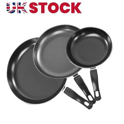 £7.99 • Buy 3PC Cast Iron Non Stick Frying Griddle Pan BBQ Steak Cooking Meat Grill Skillet