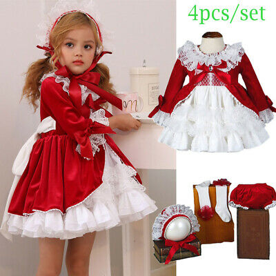 £29.99 • Buy Baby Girls Spanish Dress Party Bridesmaid Princess Bow Ball Gown Tutu Outfits UK