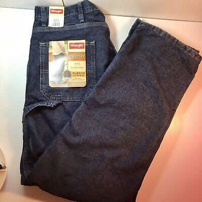 $22.40 • Buy New NWT Wrangler Fleece Lined Cold Weather Carpenter Jeans 34x34 Loose Fit