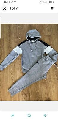 £35 • Buy Lacoste Mens Tracksuit  Hoodie Sweater Top Joggers Pale Grey Small Mens