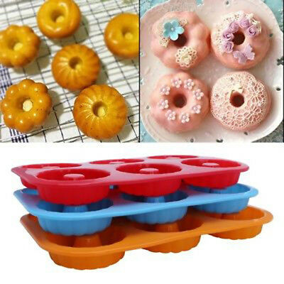 AU5.76 • Buy Silicone Donut Mould 6 Cavity Non-Stick Full-Sized Safe Baking Tray Maker Pan.ZY
