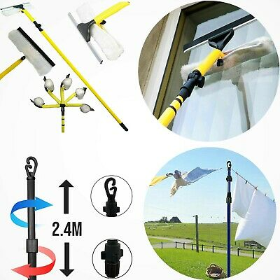 £19.99 • Buy Window Glass Dirt Cleaner Extendable 3.5M & Telescopic Washing 2.5M Prop Pole UK