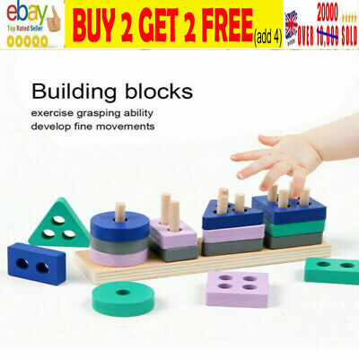 £4.99 • Buy Wooden Toys For 1 2 3 4 5 Years Lead-free Old Boys Girls Toddler Educational -