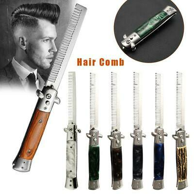 AU26.89 • Buy Steel Stainless Switch Blade Spring Pocket Hair Comb Folding Hairstyling Brush