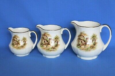 £6.99 • Buy Vintage Alfred Meakin  Rest At The White Horse Inn  Set Of 3 Graduated Jugs