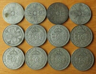£14.95 • Buy 12 X British Silver Florin Coins 1920-1945 Good Grades Many Different Dates.