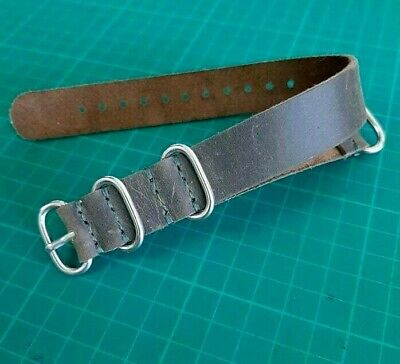 $3 • Buy Leather Watch Strap 20mm, Handmade Band Military Army Style Brown Watchband Mens