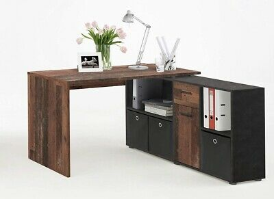 £50 • Buy Lexa Straight/Corner Home Office Computer Desk In An Old Oak & Anthracite Finish