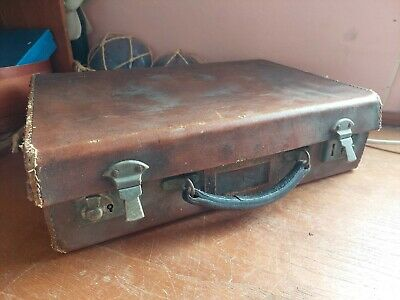 £15 • Buy Vintage 1930s 1940s Small Leather Suitcase,  Name Tag